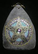 Celtic Golden Pentagram with Blue Slate