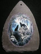 Two Howling Wolves Slate