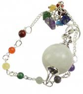 Rainbow Moonstone Ball Pendulum with Chakra Chain