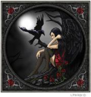 Gothic Angel & Raven Card