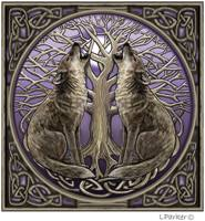 Moon Gazing Wolves Card