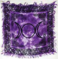 Small Purple Tie-dyed Triple Moon Altar Cloth