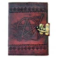 Leather Pentagram & Besom Journal With Latch