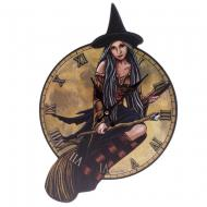 Lisa Parker Witch on Broomstick Shaped Picture Clock