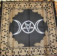 Triple Moon and Pentacle Altar Cloth