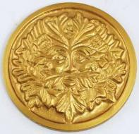 Gold Tone Green Man Altar Tile