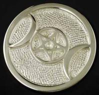 Small Silver Plated Triple Moon Altar Tile