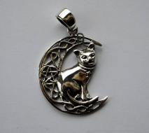 Lisa Parker Cat In Moon Pendant - Silver