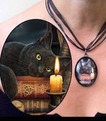 The Witching Hour - Black Cat Picture Pendant