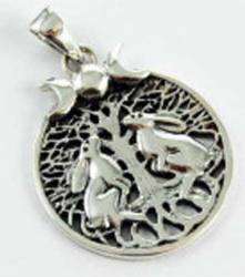 Lisa Parker Two Hares Pendant - Silver