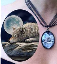 Lisa Parker Quiet Reflections - Wolf by Lake Picture Pendant
