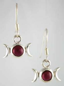 Garnet Triple Moon Earrings