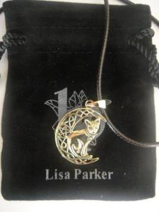 Lisa Parker Cat In Moon Pendant - Bronze