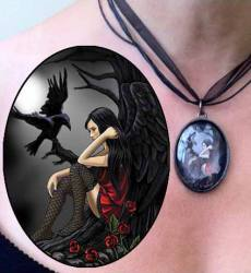 Lisa Parker Eternally Yours - Fairy with Raven Picture Pendant