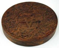 Carved Wooden Pentagram Altar Tile