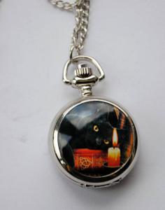 Lisa Parker Black Cat Mini Pocket Watch