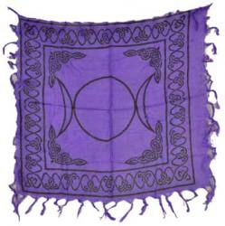 Small Purple Triple Moon Altar Cloth