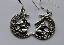 Lisa Parker Hare in Moon Earrings - Silver