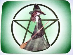Pentagram, Witch & Broom Mousemat