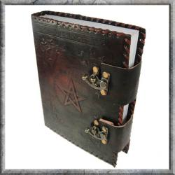 Leather Book of Shadows With Pentagram & Latches