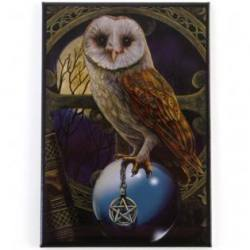 Owl on Crystal Ball Magnet - Lisa Parker