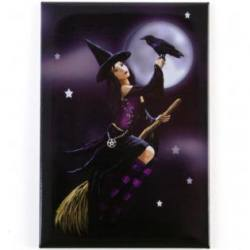 Witch on Broom Magnet - Lisa Parker