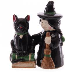 Lisa Parker Ceramic Witch & Cat Salt & Pepper Set
