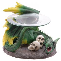 Green Dragon With Skulls Oil Burner