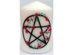 Pentacle & Red Roses Candle