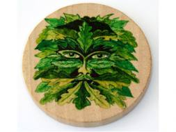 Green Man Wooden Altar Tile