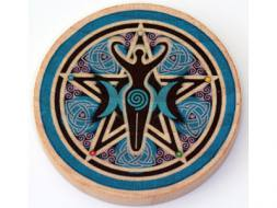 Triple Moon Goddess Wooden Altar Tile