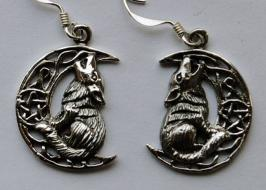 Lisa Parker Wolf in Moon Earrings - Silver