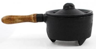 Cast Iron Incense Burner with Wooden Handle